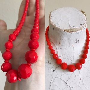 Vintage 50s Candy Apple Red Glass Necklace
